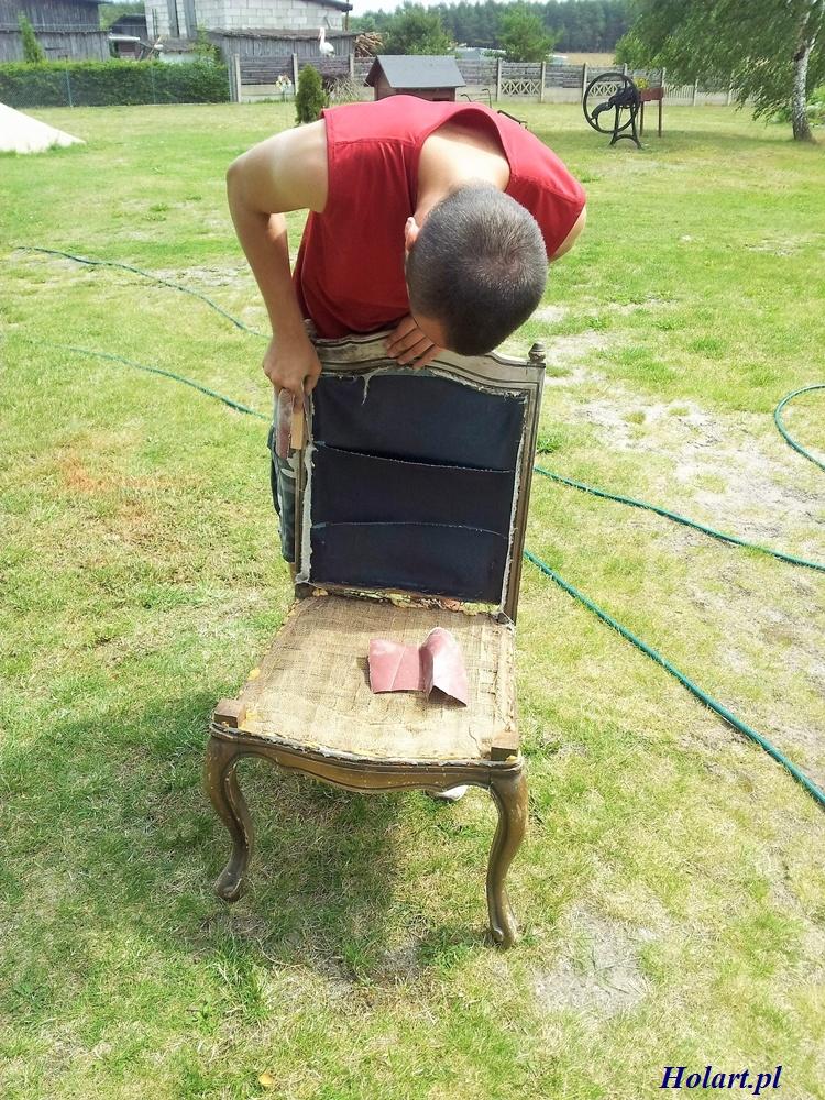 pozbywanie się starego lakieru z krzesła, DIY