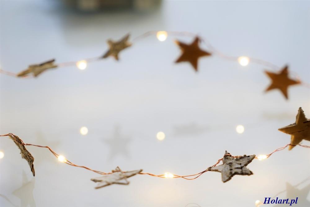 ledowe światełka na druciku z gwiazdkami