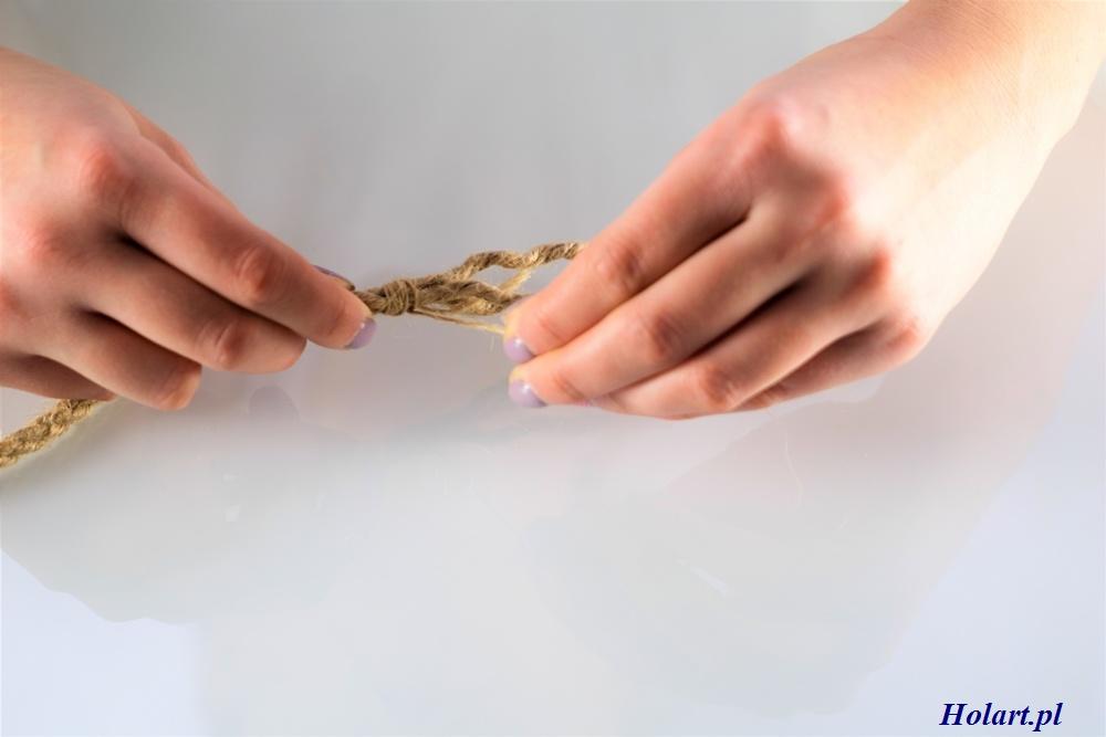 owinięcie końcówek sznurka z juty, DIY