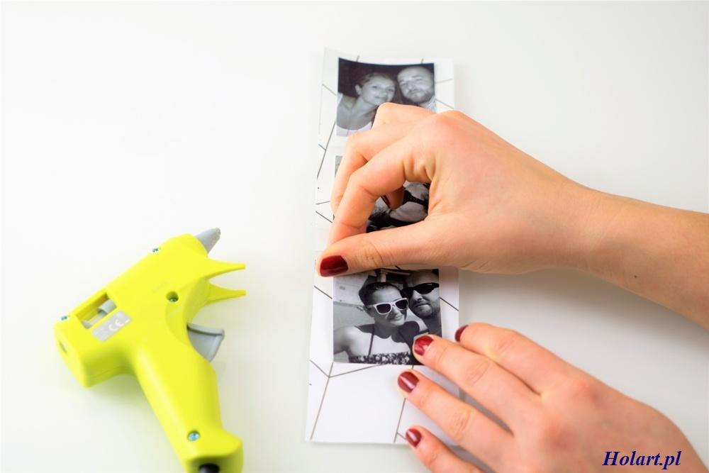 przyklejenie zdjęć do harmonijki z papieru