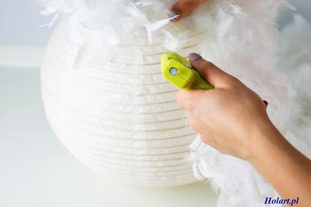 proces tworzenia lampy z piór,diy