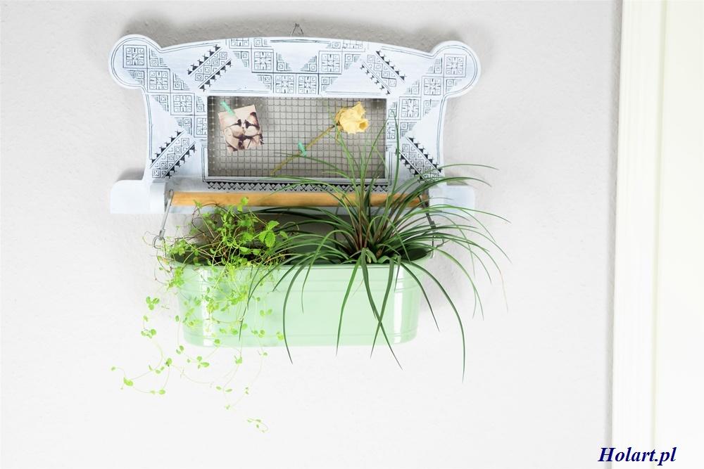 półka z drążkiem na kwiaty,upcycling